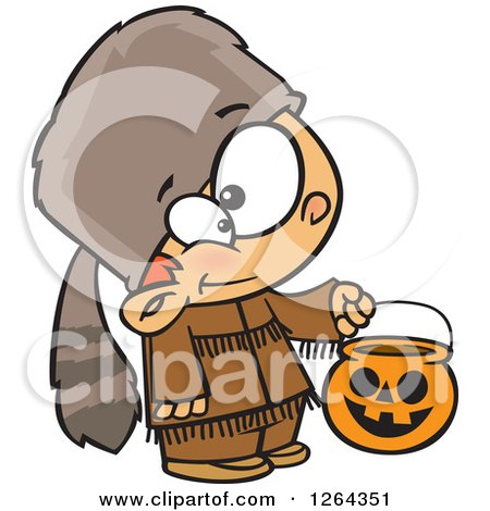 Clipart of a Cartoon Caucasian Boy Trick or Treating in a Davy Crockett Halloween Costume - Royalty Free Vector Illustration by toonaday
