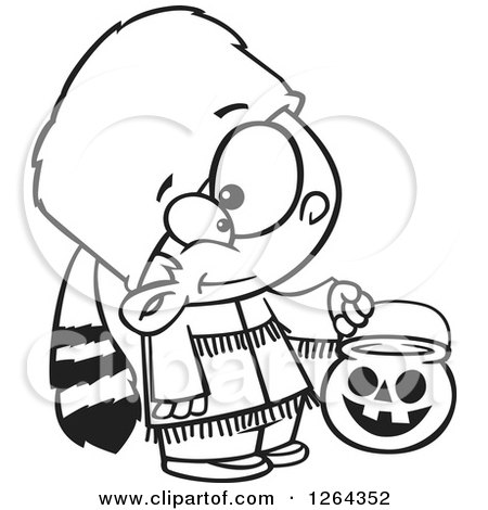 Clipart of a Black and White Cartoon Boy Trick or Treating in a Davy Crockett Halloween Costume - Royalty Free Vector Illustration by toonaday