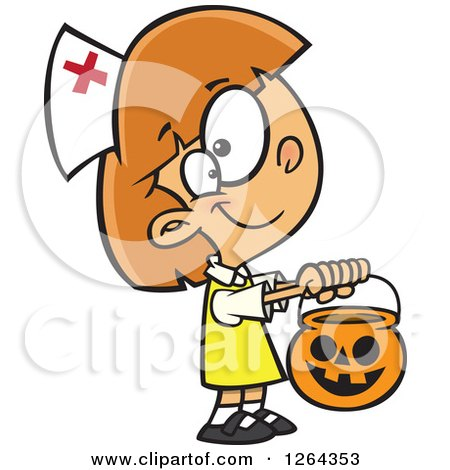 Clipart of a Cartoon Caucasian Girl Trick or Treating in a Nurse Halloween Costume - Royalty Free Vector Illustration by toonaday