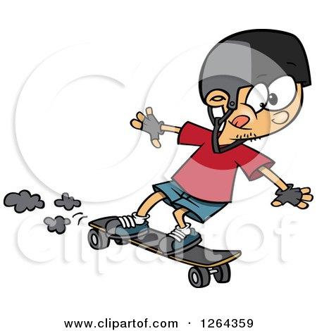 Cartoon Caucasian Boy Skateboarding on a Longboard Posters, Art Prints