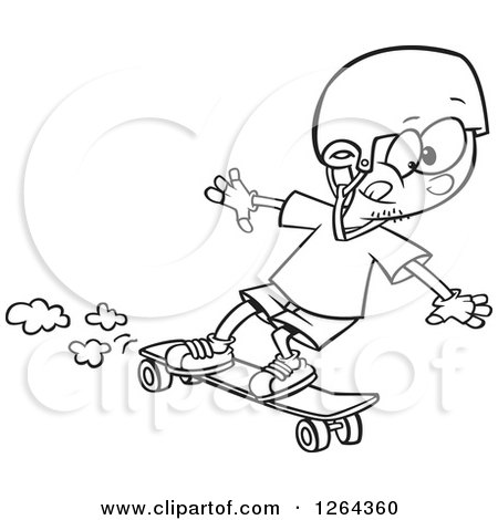 Clipart Of A Black And White Cartoon Boy Skateboarding On A