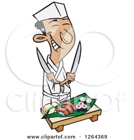 Clipart of a Cartoon Happy Japanese Male Chef Holding Knives over Sushi - Royalty Free Vector Illustration by toonaday