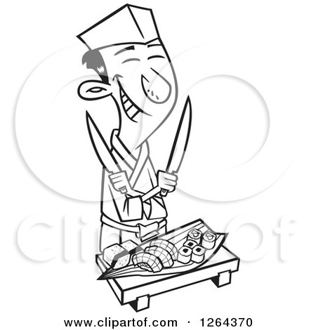 Clipart of a Black and White Cartoon Happy Japanese Male Chef with Knives and Sushi - Royalty Free Vector Illustration by toonaday