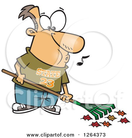 Clipart of a Cartoon Happy Caucasian Man Whistling and Raking Leaves - Royalty Free Vector Illustration by toonaday