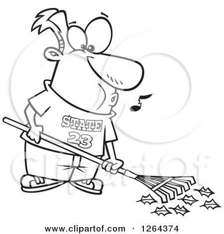 Clipart of a Black and White Cartoon Happy Man Whistling and Raking Leaves - Royalty Free Vector Illustration by toonaday