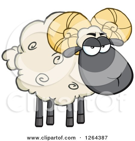 Clipart of a Sheep with Curly Horns - Royalty Free Vector Illustration by Hit Toon