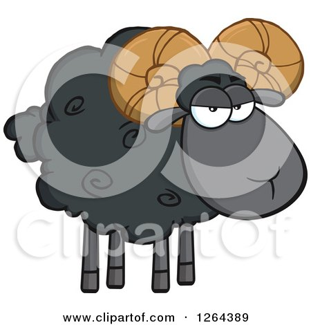 Clipart of a Black Sheep with Curly Horns - Royalty Free Vector Illustration by Hit Toon