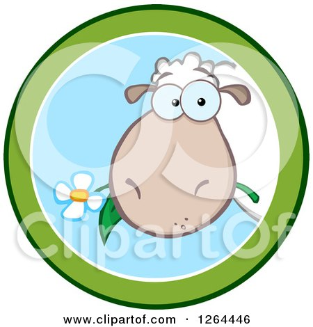 Clipart of a Sheep Eating a Flower in a Green and Blue Circle Design - Royalty Free Vector Illustration by Hit Toon