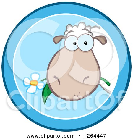 Clipart of a Sheep Eating a Flower in a Blue Circle Design - Royalty Free Vector Illustration by Hit Toon
