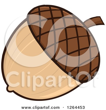 Clipart of a Brown Acorn - Royalty Free Vector Illustration by Hit Toon