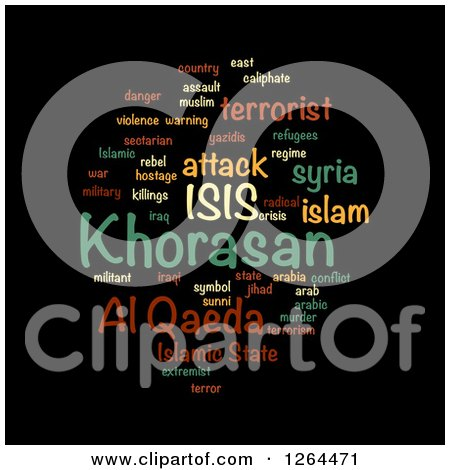 Clipart of an ISIS and Al Qaeda Word Tag Collage on Black - Royalty Free Illustration by oboy