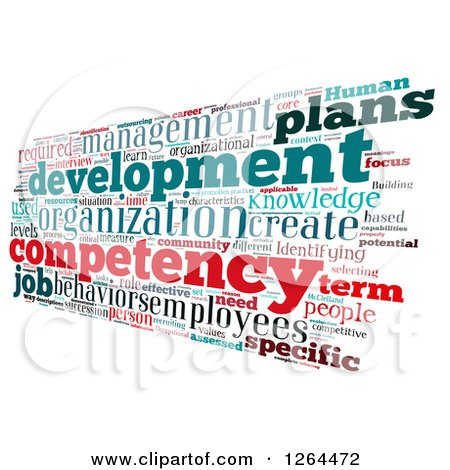 Clipart of an Angled Competency Business Word Collage on White - Royalty Free Illustration by MacX