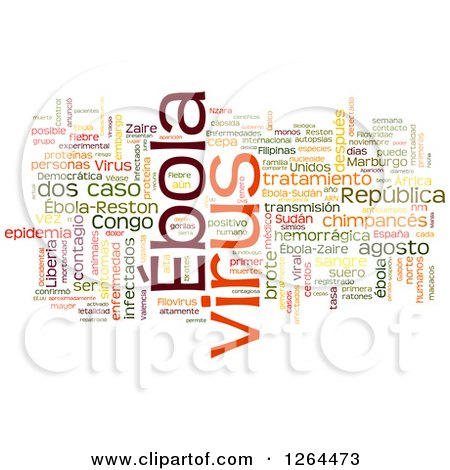 Clipart of a Colorful Ebola Virus Word Tag Collage on White - Royalty Free Illustration by MacX