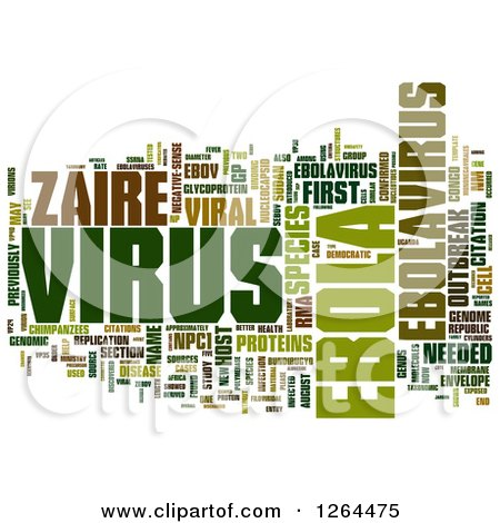 Clipart of a Green Ebola Virus Word Tag Collage on White - Royalty Free Illustration by MacX