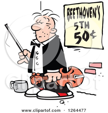 Cartoon Male Panhandler Violinist on a Sidewalk with a Beethovens 5th Sign Posters, Art Prints