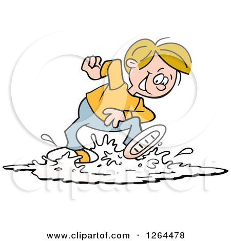 Clipart of a Cartoon Cacucasian Boy Playing in a Puddle - Royalty Free Vector Illustration by Johnny Sajem