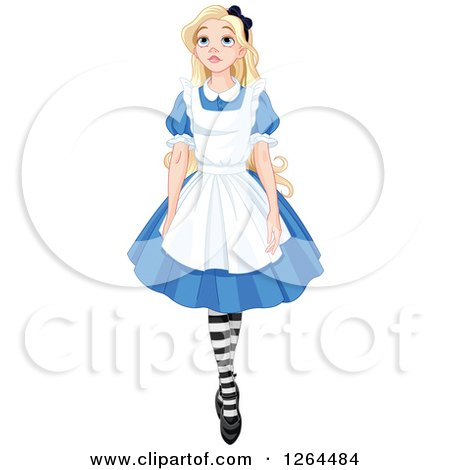 Clipart of Alice in Wonderland Walking and Looking Upwards - Royalty Free Vector Illustration by Pushkin