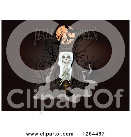 Clipart of a Full Moon with Vampire Bats and Halloween Text over a Nun Skeleton Praying on a Cloud - Royalty Free Vector Illustration by Pushkin