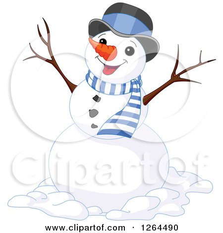 Clipart of a Cheering Snowman in a Top Hat and Scarf - Royalty Free Vector Illustration by Pushkin