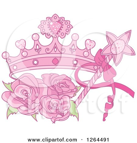 Clipart of a Magic Wand and Pink Princess Crown with Roses - Royalty Free Vector Illustration by Pushkin