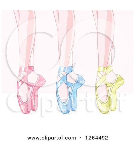 Feet of Dancing Ballerinas in Pink Blue and Green Satin Slippers over Pink and White Posters, Art Prints