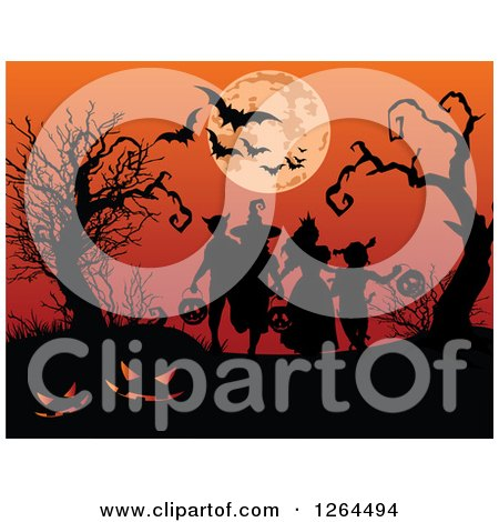 Clipart of Silhouetted Children Trick or Treating Against a Full Moon and Bats in an Orange Sky - Royalty Free Vector Illustration by Pushkin