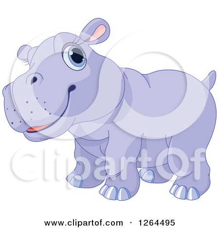 Clipart of a Cute Purple Baby Hippo - Royalty Free Vector Illustration by Pushkin