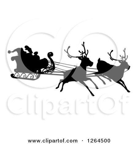 Clipart of a Black Silhouette of Reindeer Flying Santa in His Sleigh - Royalty Free Vector Illustration by AtStockIllustration