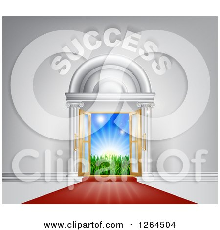 Clipart of 3d SUCCESS over Open Doors with a Red Carpet, Light and a Field - Royalty Free Vector Illustration by AtStockIllustration