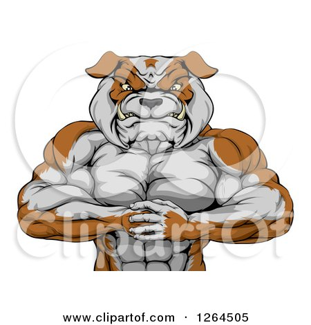Clipart Of A Muscular Bulldog Man Punching One Fist Into A Palm Royalty Free Vector Illustration
