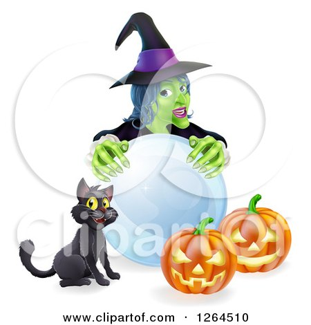 Clipart of a Green Witch with a Crystal Ball, Black Cat and Halloween Jackolantern Pumpkins - Royalty Free Vector Illustration by AtStockIllustration