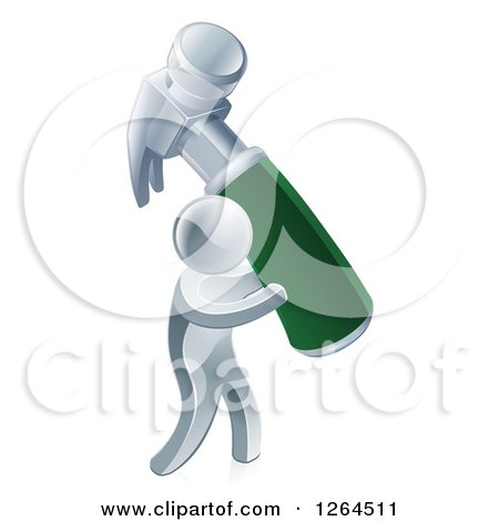 Clipart of a 3d Silver Man Carrying a Giant Green Handled Hammer - Royalty Free Vector Illustration by AtStockIllustration