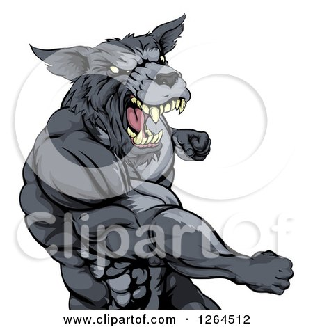 Clipart Of A Vicious Muscular Wolf Man Punching Royalty Free Vector Illustration
