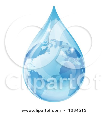 Clipart of a 3d Earth in a Water Droplet - Royalty Free Vector Illustration by AtStockIllustration