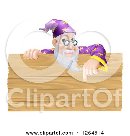 Clipart of a Senior Male Wizard Pointing down at a Wooden Sign - Royalty Free Vector Illustration by AtStockIllustration