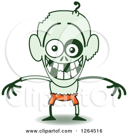 Clipart of a Halloween Zombie Grinning from Embarrassment - Royalty Free Vector Illustration by Zooco
