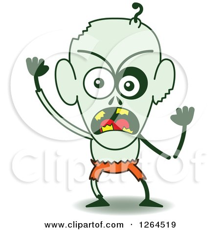 Clipart of a Furious Halloween Zombie - Royalty Free Vector Illustration by Zooco