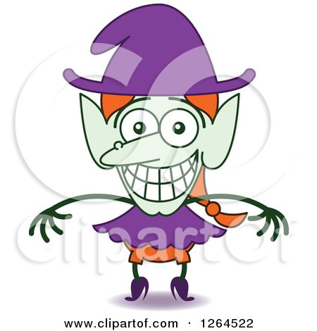 Clipart of a Halloween Witch Grinning from Embarrassment - Royalty Free Vector Illustration by Zooco