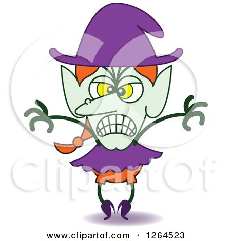 Clipart of a Halloween Witch Being Scary - Royalty Free Vector Illustration by Zooco