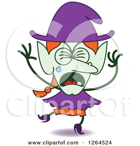 Clipart of a Sad Halloween Witch Crying - Royalty Free Vector Illustration by Zooco