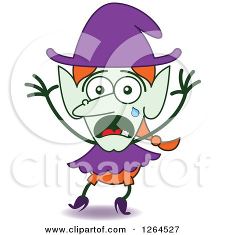 Clipart of a Scared Halloween Witch Crying - Royalty Free Vector Illustration by Zooco