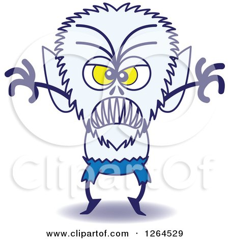 Clipart of a Halloween Werewolf Being Scary - Royalty Free Vector Illustration by Zooco