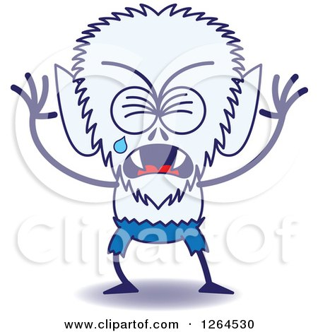 Clipart of a Sad Halloween Werewolf Crying - Royalty Free Vector Illustration by Zooco