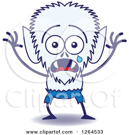 Clipart of a Scared Halloween Werewolf Crying - Royalty Free Vector Illustration by Zooco
