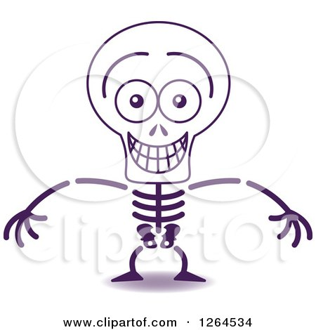 Clipart of a Halloween Skeleton Grinning from Embarrassment - Royalty Free Vector Illustration by Zooco