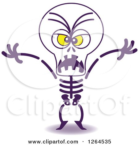 Clipart of a Halloween Skeleton Being Scary - Royalty Free Vector Illustration by Zooco