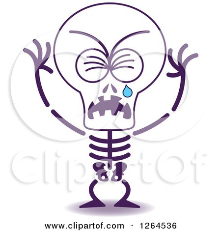 Clipart of a Sad Halloween Skeleton Crying - Royalty Free Vector Illustration by Zooco