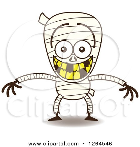 Clipart of a Halloween Mummy Grinning from Embarrassment - Royalty Free Vector Illustration by Zooco