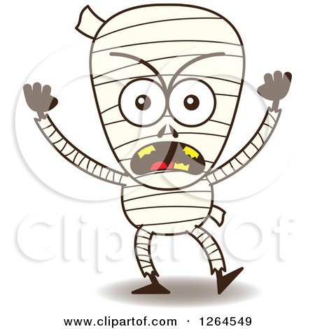 Clipart of a Furious Halloween Mummy - Royalty Free Vector Illustration by Zooco