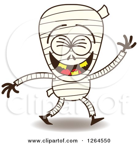 Clipart of a Halloween Mummy Laughing - Royalty Free Vector Illustration by Zooco